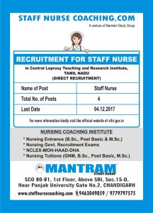 RECRUITMENT OF STAFF NURSE IN CENTRAL LEPROSY TEACHING AND RESEARCH